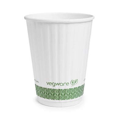 Bio Compostable White Embossed Hot CUPS 12oz (89mm Rim) Pack