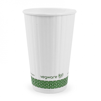 Bio Compostable White Embossed Hot CUPS 16oz (89mm Rim) Pack