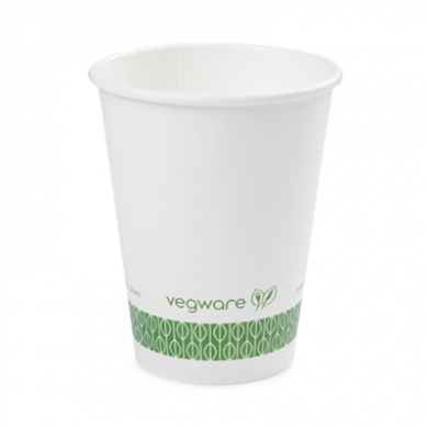 Bio Compostable White Single Wall 12oz CUPS - 89mm Rim (Pack