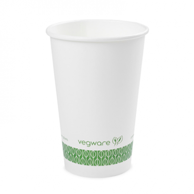 Bio Compostable White Single Wall 16oz CUPS - 89mm Rim (Pack