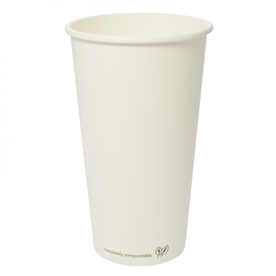 Bio Compostable White Single Wall 20oz CUPS - 89mm Rim (Pack