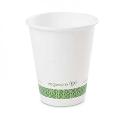 Bio Compostable White Single Wall 8oz CUPS - 79mm Rim (Pack