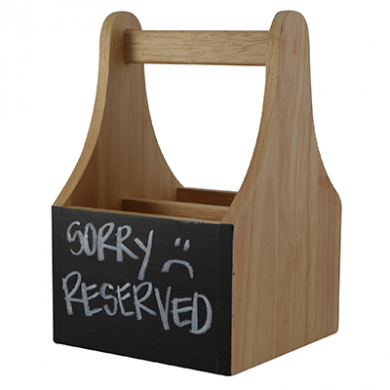 Wooden Caddy With Chalkboard (2 Compartments)