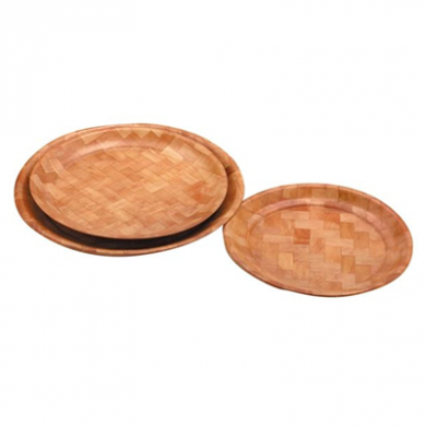 Woven Wooden Round Tray (30cm)